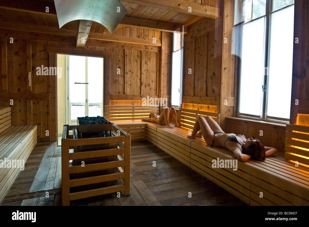 Sauna hay Terme di Prè Saint Didier AO - Stock Image