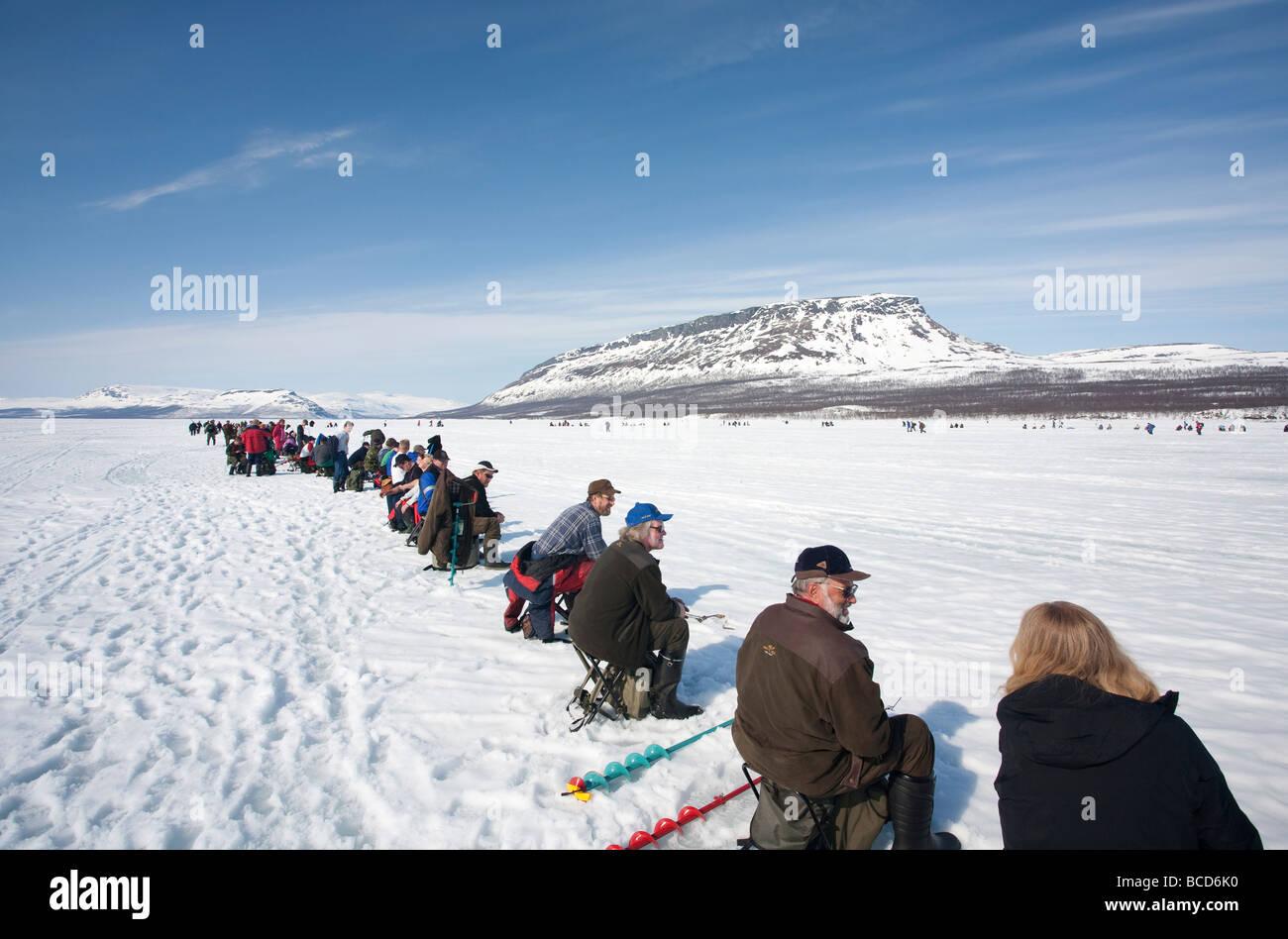 Vain kaksi kalaa ( Only two fish ) ice fishing competition at Lake Kilpisjärvi Finland Lapland Saanatunturi - Stock Image