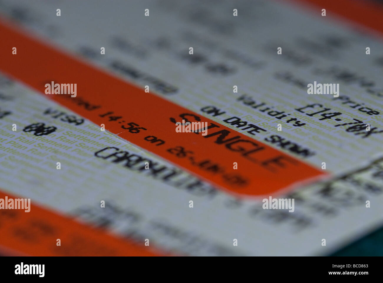 Rail Ticket Close-up - Stock Image