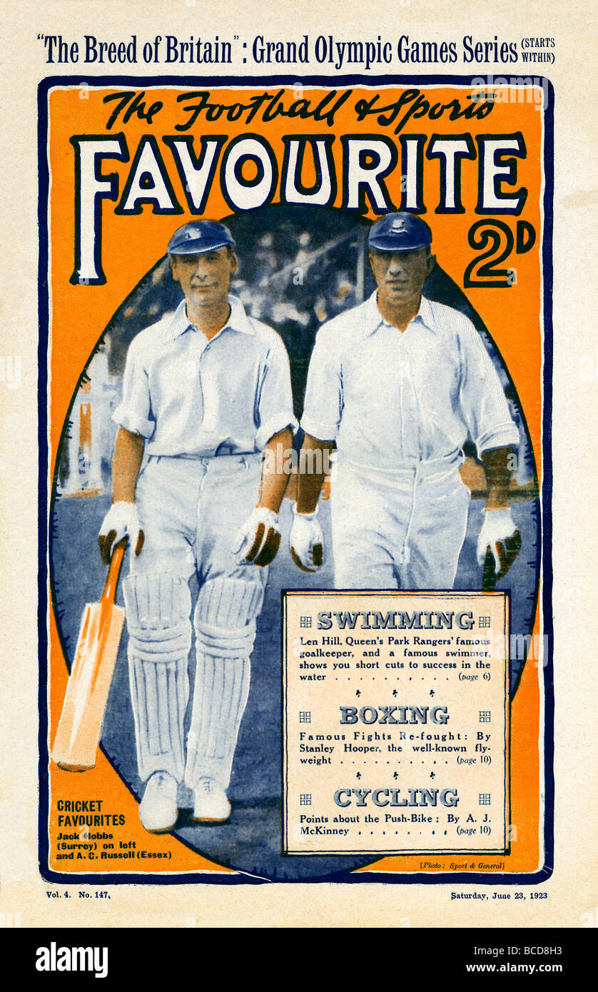 Sports Favourite Hobbs and Russell the two Jacks of Surrey and Essex shown opening for the England cricket team - Stock Image