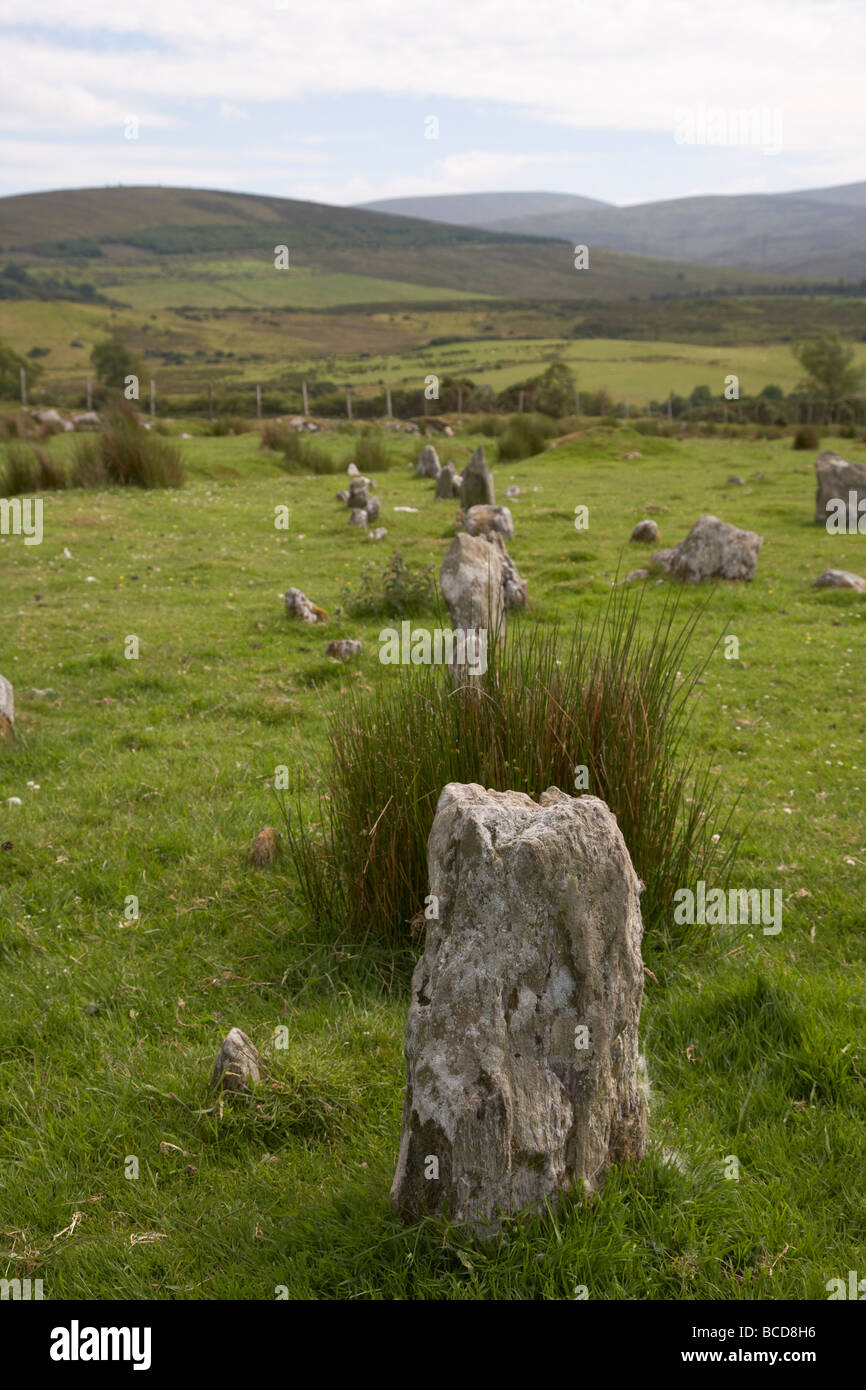stone alignment at Aughlish stone circles county derry londonderry northern ireland uk - Stock Image