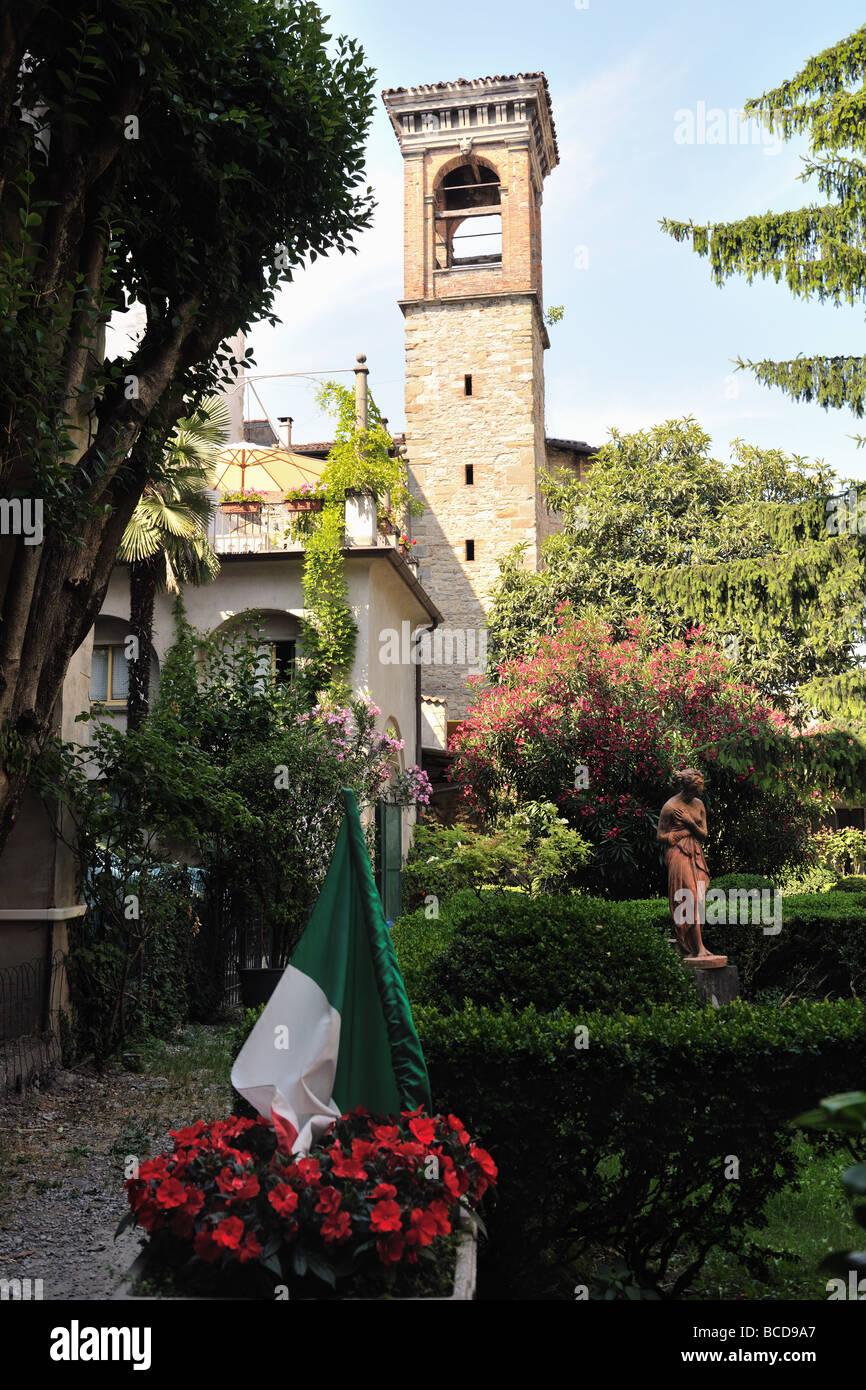Garden by the old prison Sant Agata Città Alta Bergamo Lombardy Italy - Stock Image