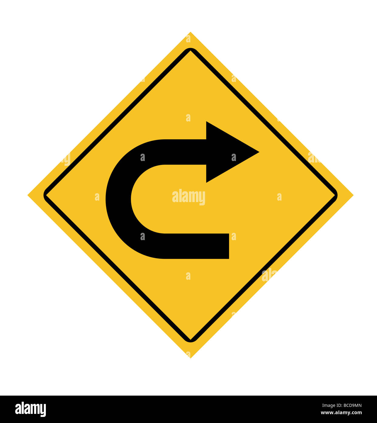 Traffic road sign with right turn arrow - Stock Image