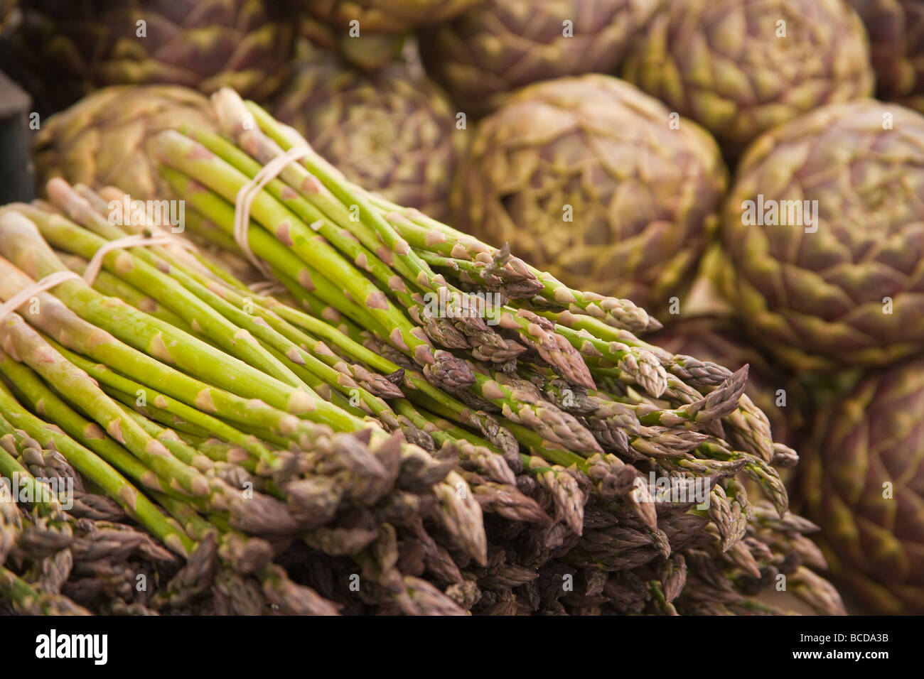 asparagus and artichokes Farmers Market Santa Barbara California United States of America Stock Photo
