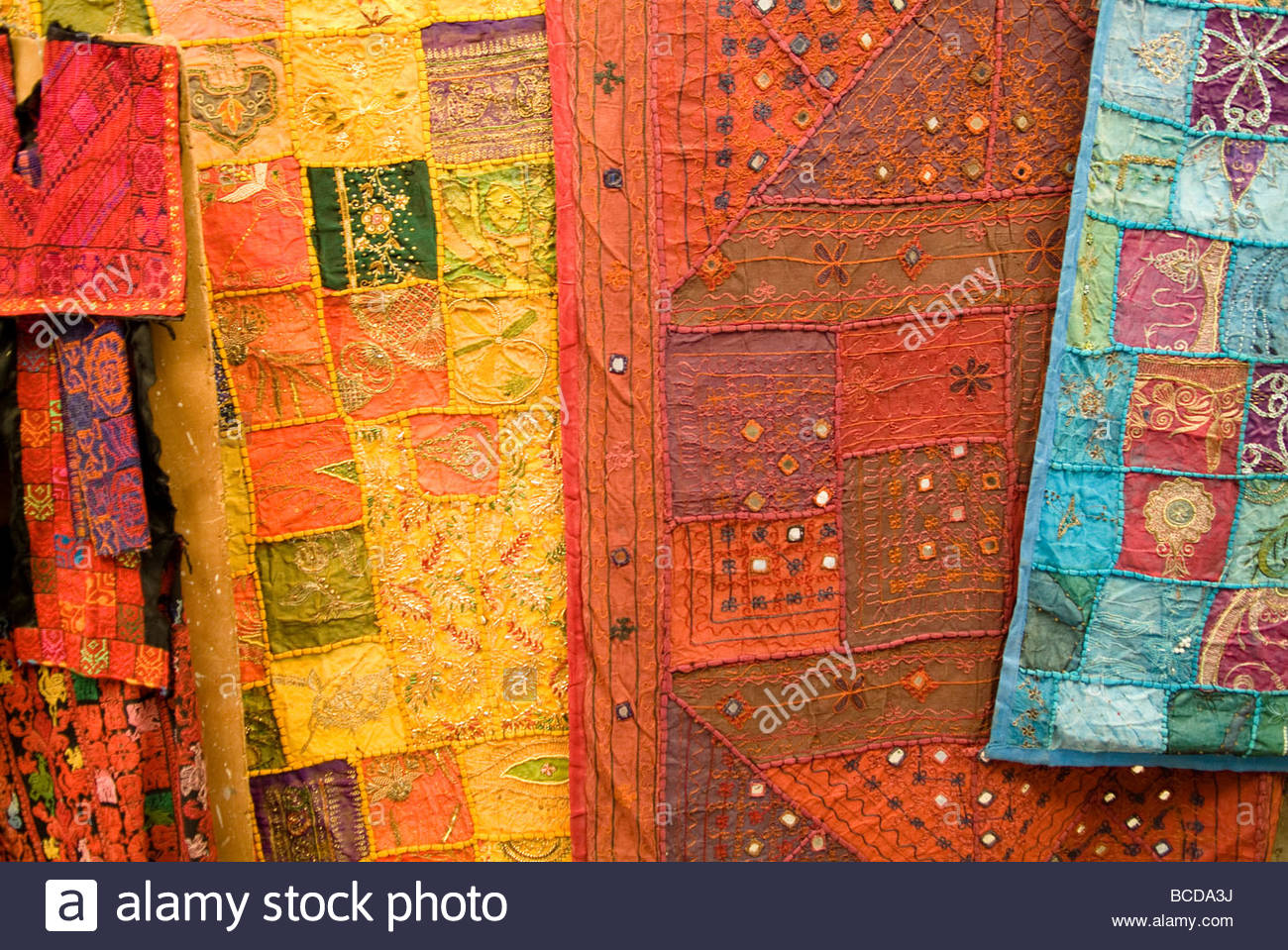 Jerusalem, Israel, Richly colored fabric for sale in Old City Market. - Stock Image