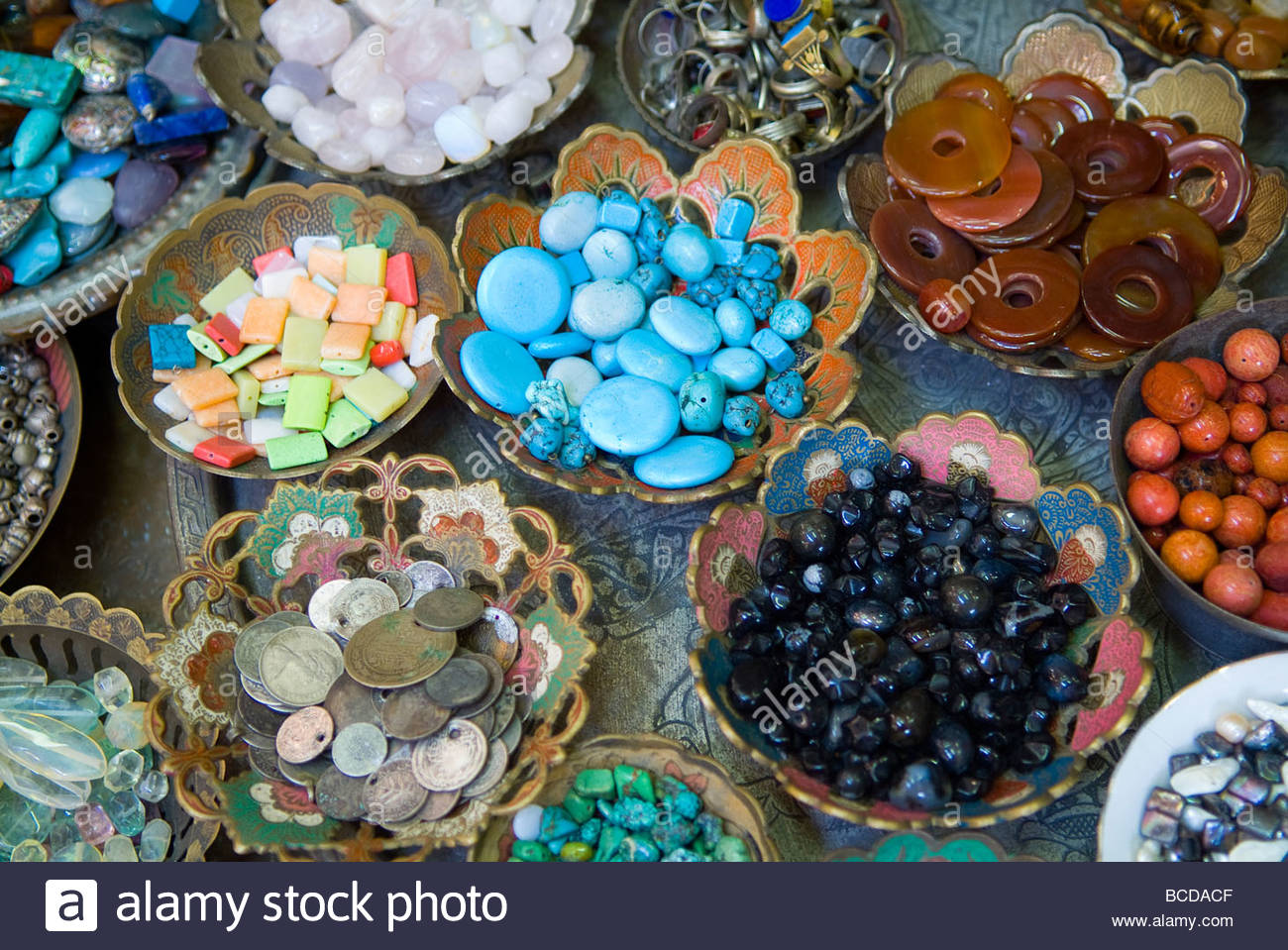 Old City, Market scenes, polished stones for sale. - Stock Image