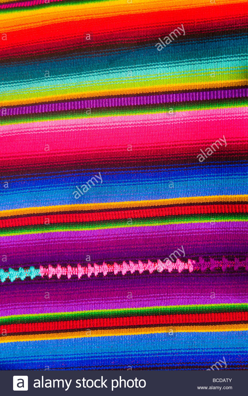 Detail of handcraft of woven hand made rugs, tapestry, sold in Copan, Honduras. - Stock Image