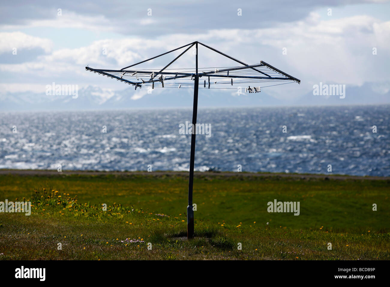 Arctic Line : Clothes line on grímsey island the arctic circle iceland stock