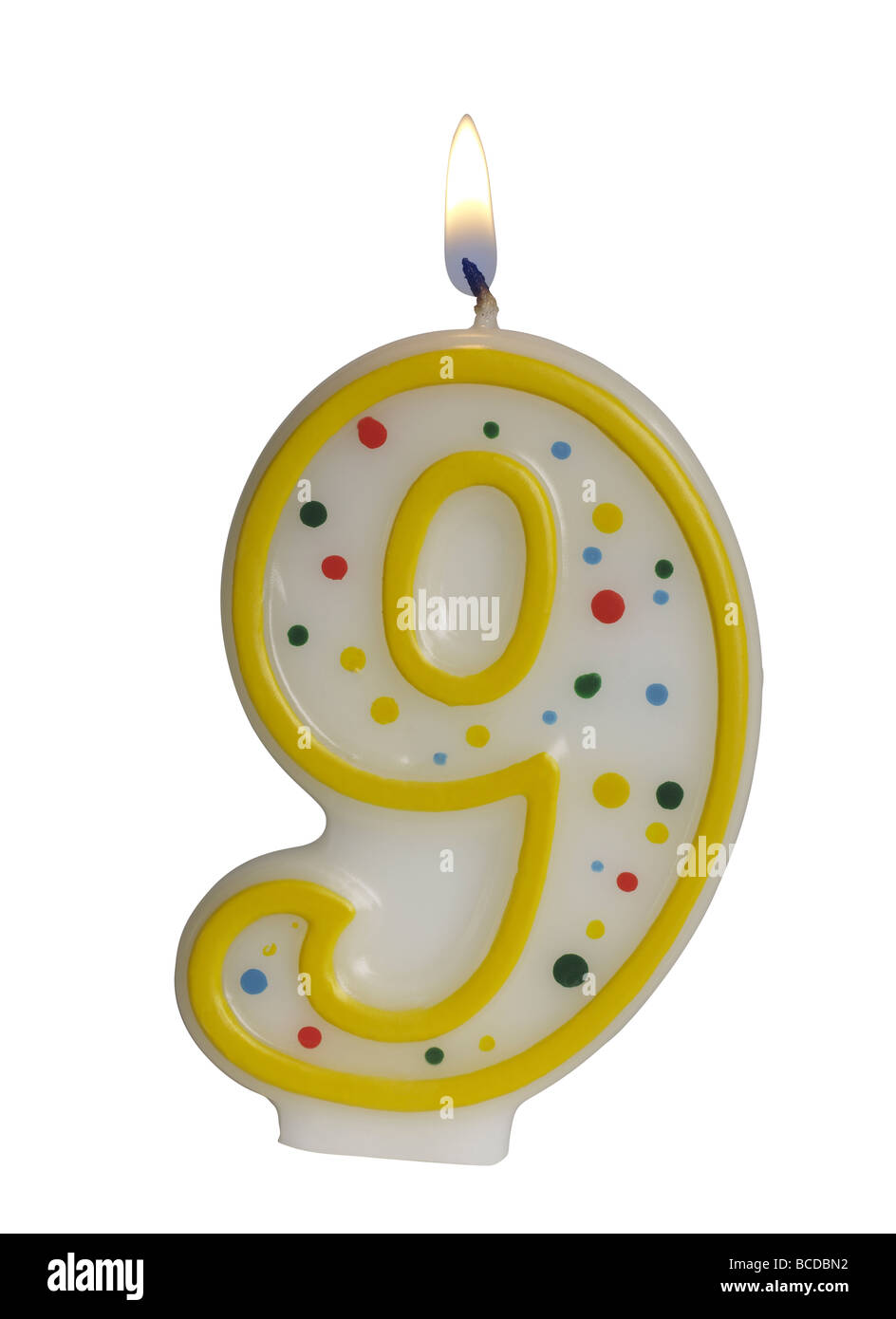 Number 9 Birthday Candle Stock Photo