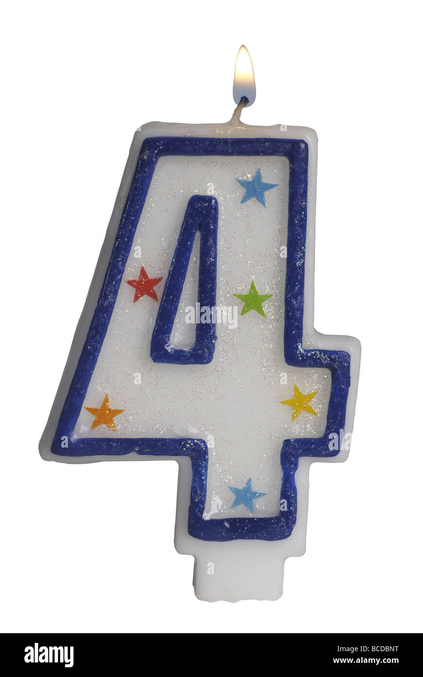 Number 4 birthday candle - Stock Image