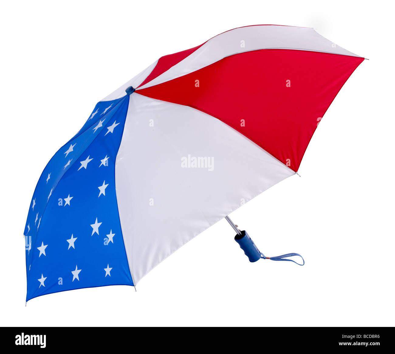 Patriotic Umbrella flag July 4th - Stock Image