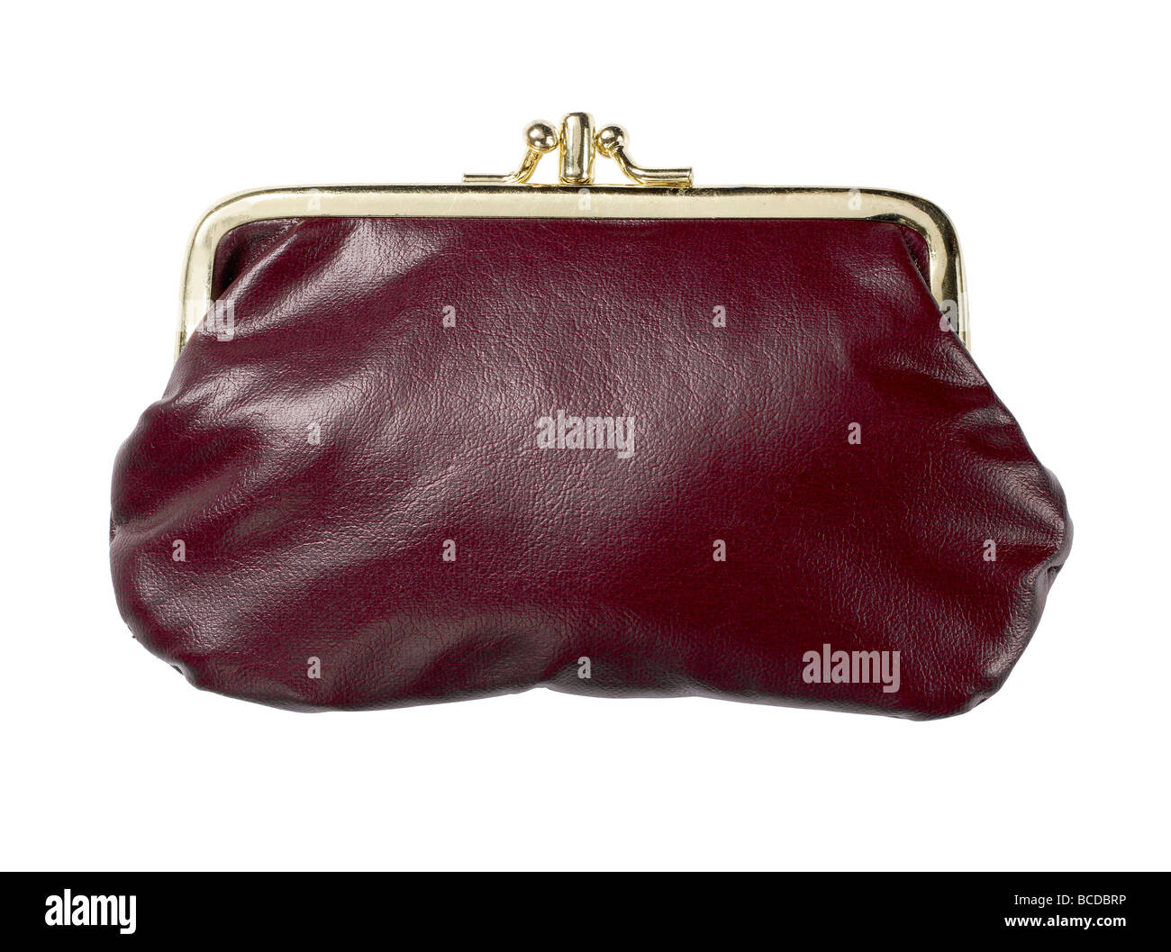 burgundy leather purse closed elevated view - Stock Image