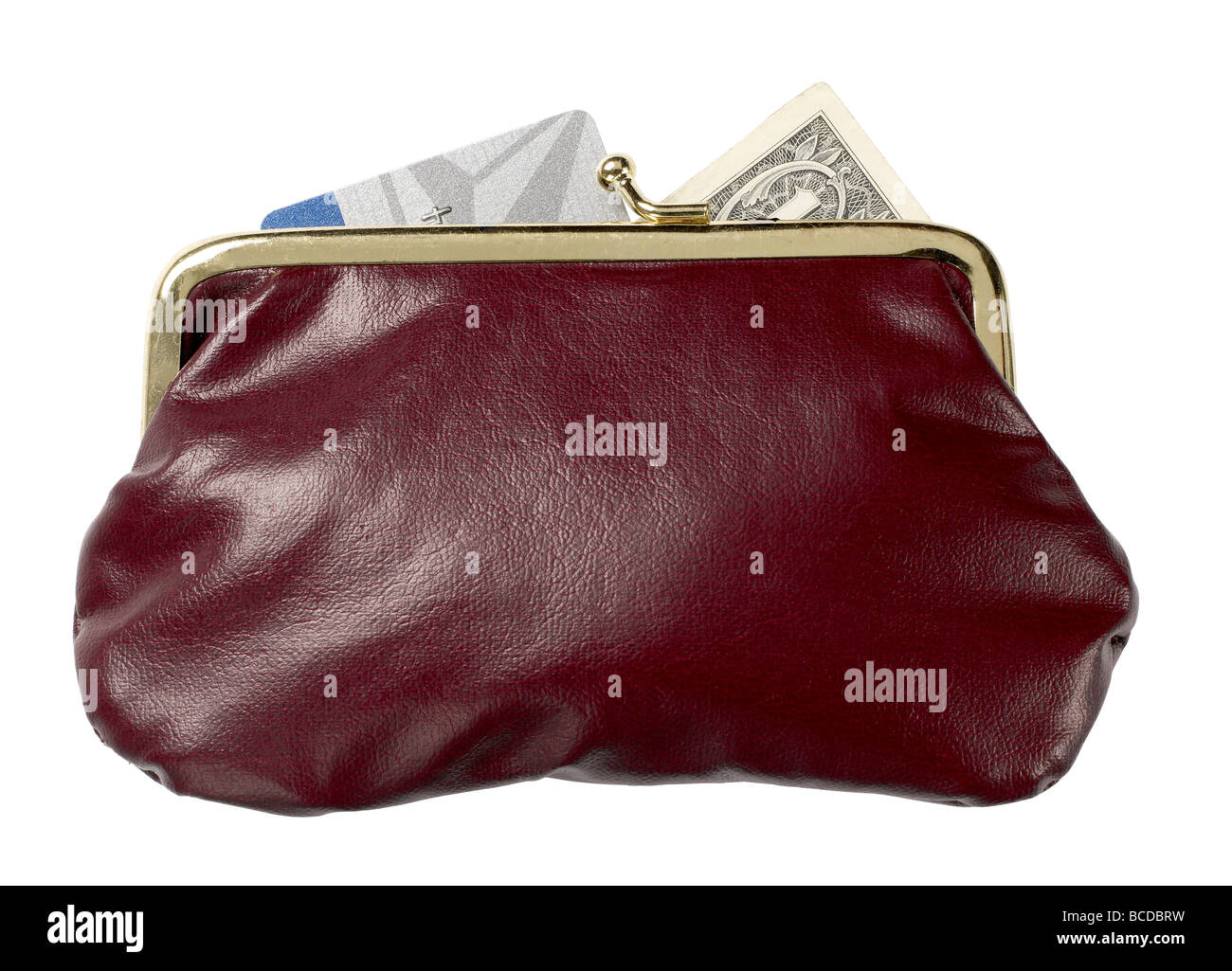 burgundy leather purse  money  credit card dollar elevated view - Stock Image