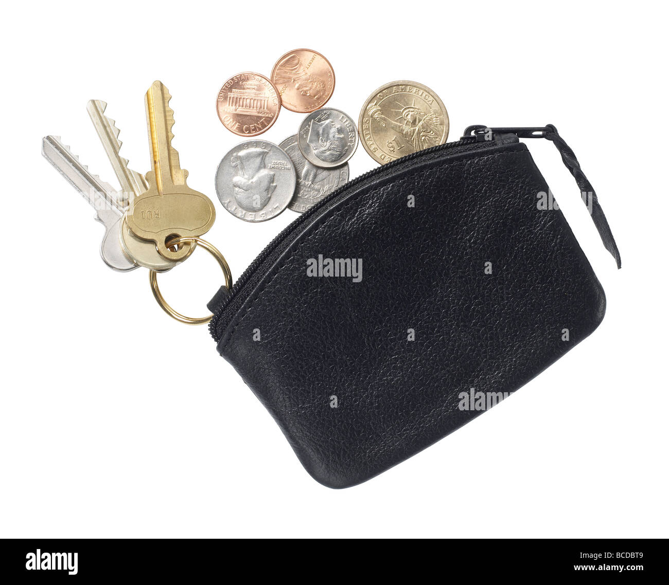 black leather purse elevated view Stock Photo