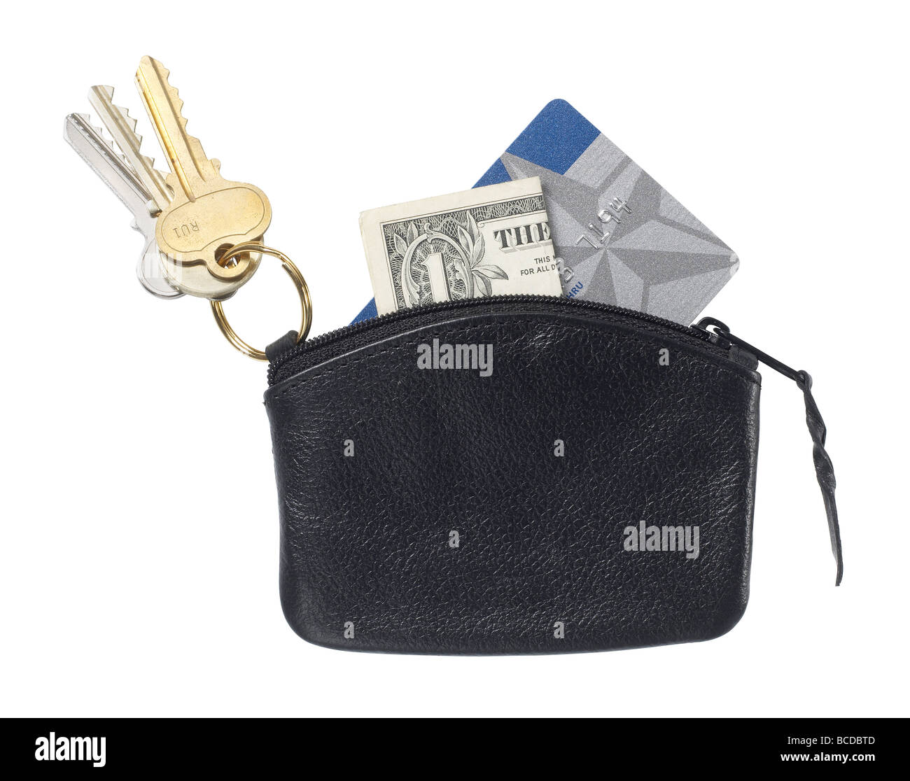 black leather purse elevated view - Stock Image