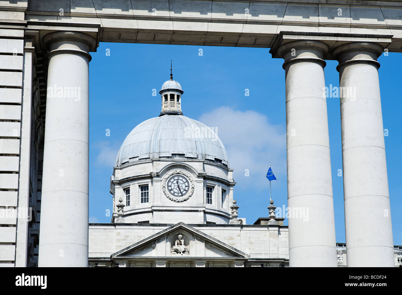 Leinster House building which is the seat of the Irish Parliament Dublin Republic of Ireland - Stock Image