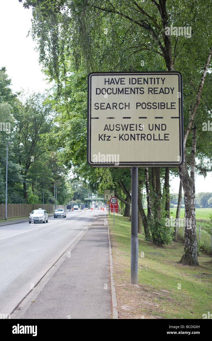 Warning signs in front of British military base in Rheindahlen, Monchengladbach , Germany - Stock Image