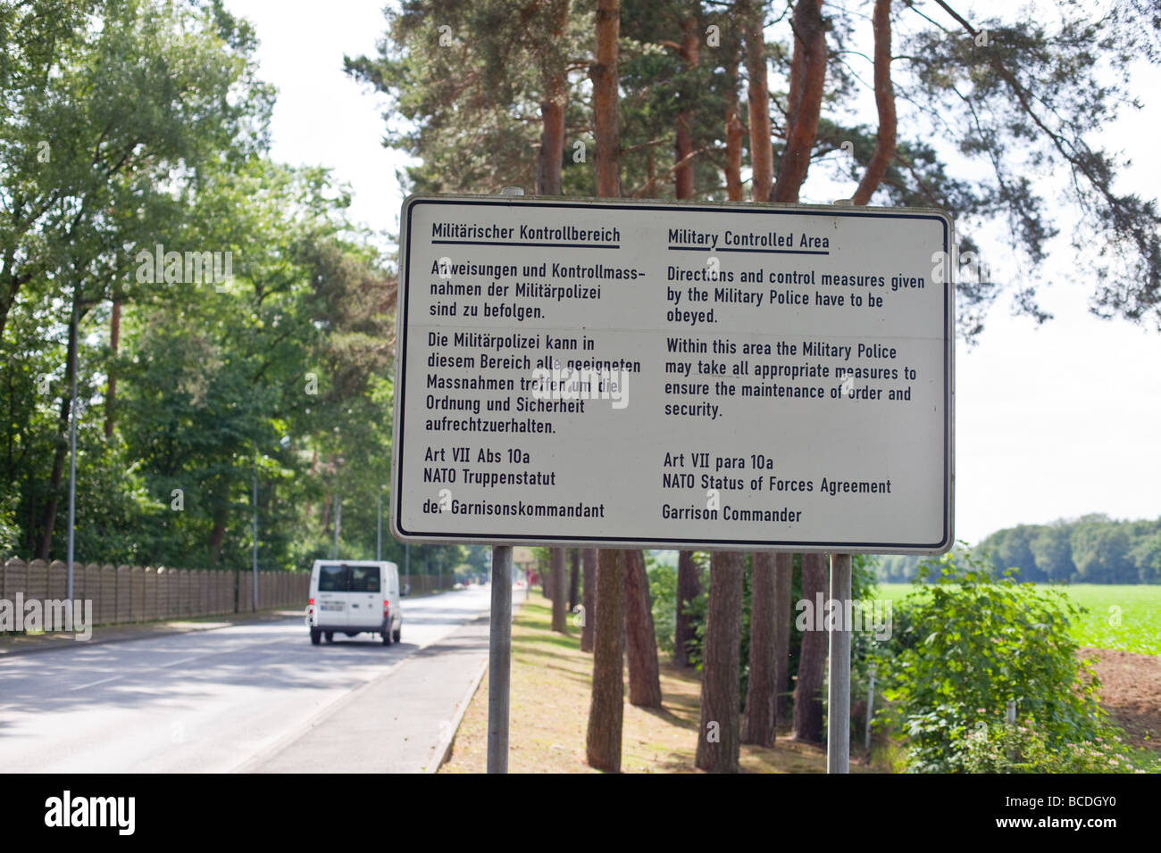 British military base signs in rheindahlen, monchengladbach, Germany - Stock Image