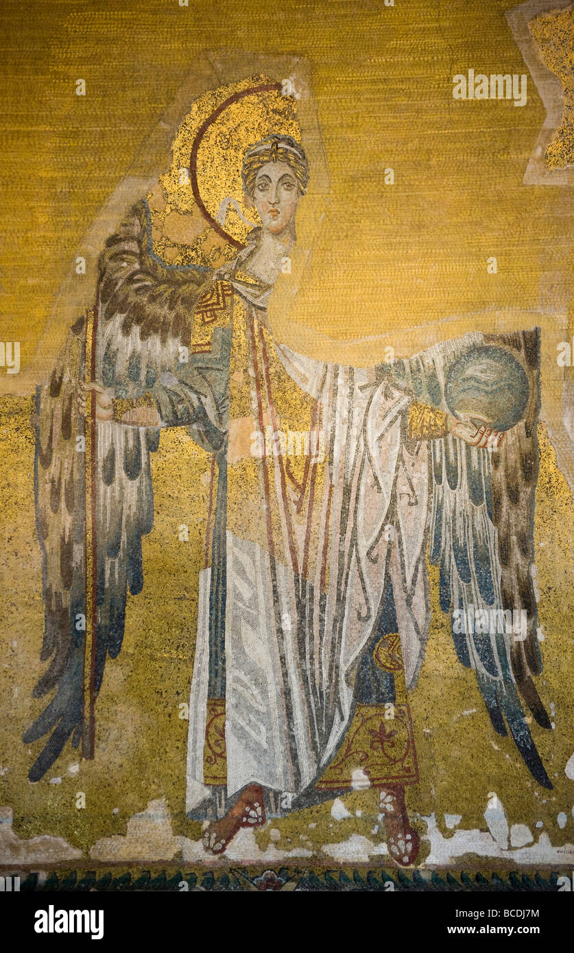 Mosaic of archangel Gabriel on the half dome of the apse in Aya Sofya in Istanbul Turkey - Stock Image