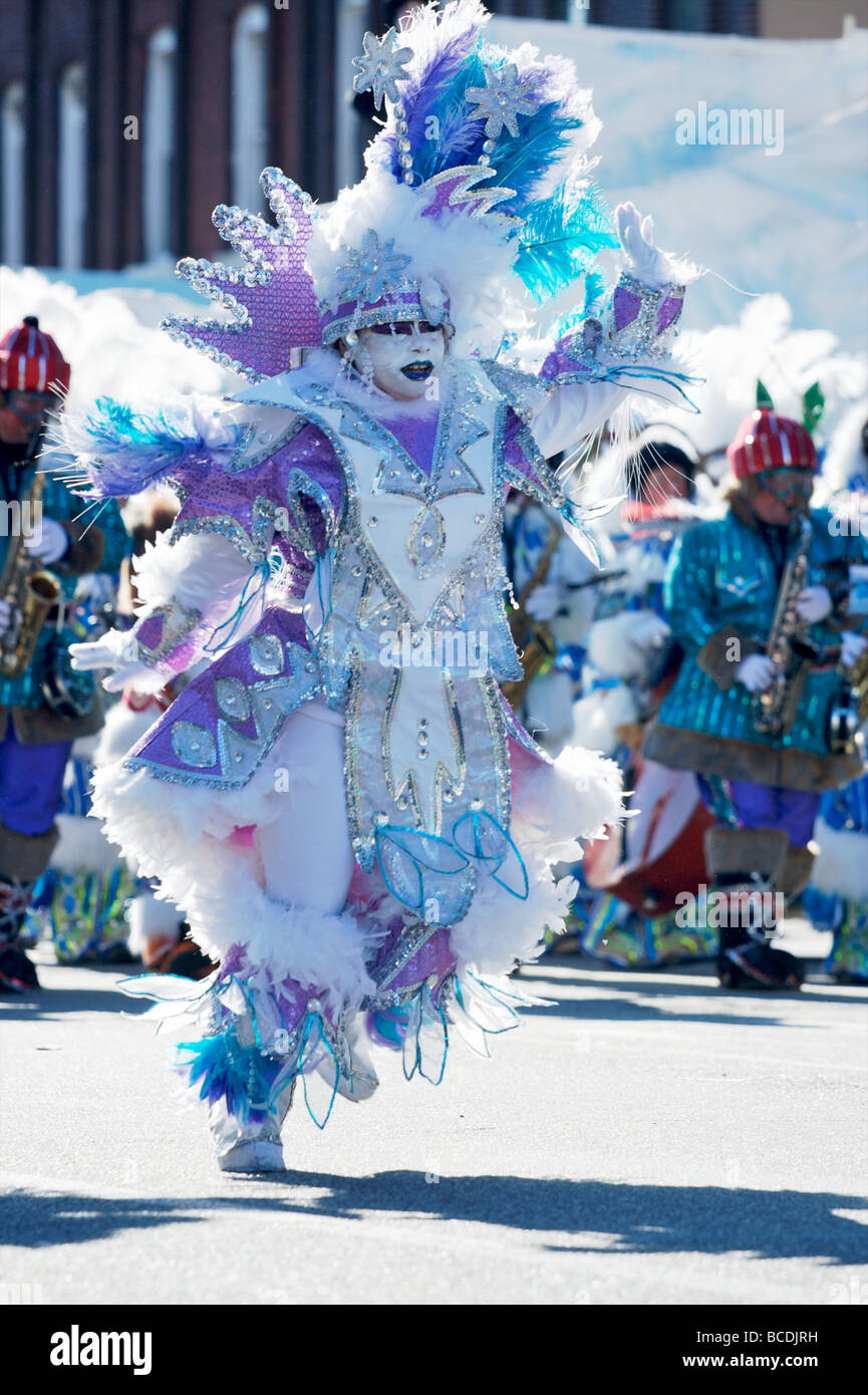 Dancer in the Philadelphia Mummers New Year's parade - Stock Image