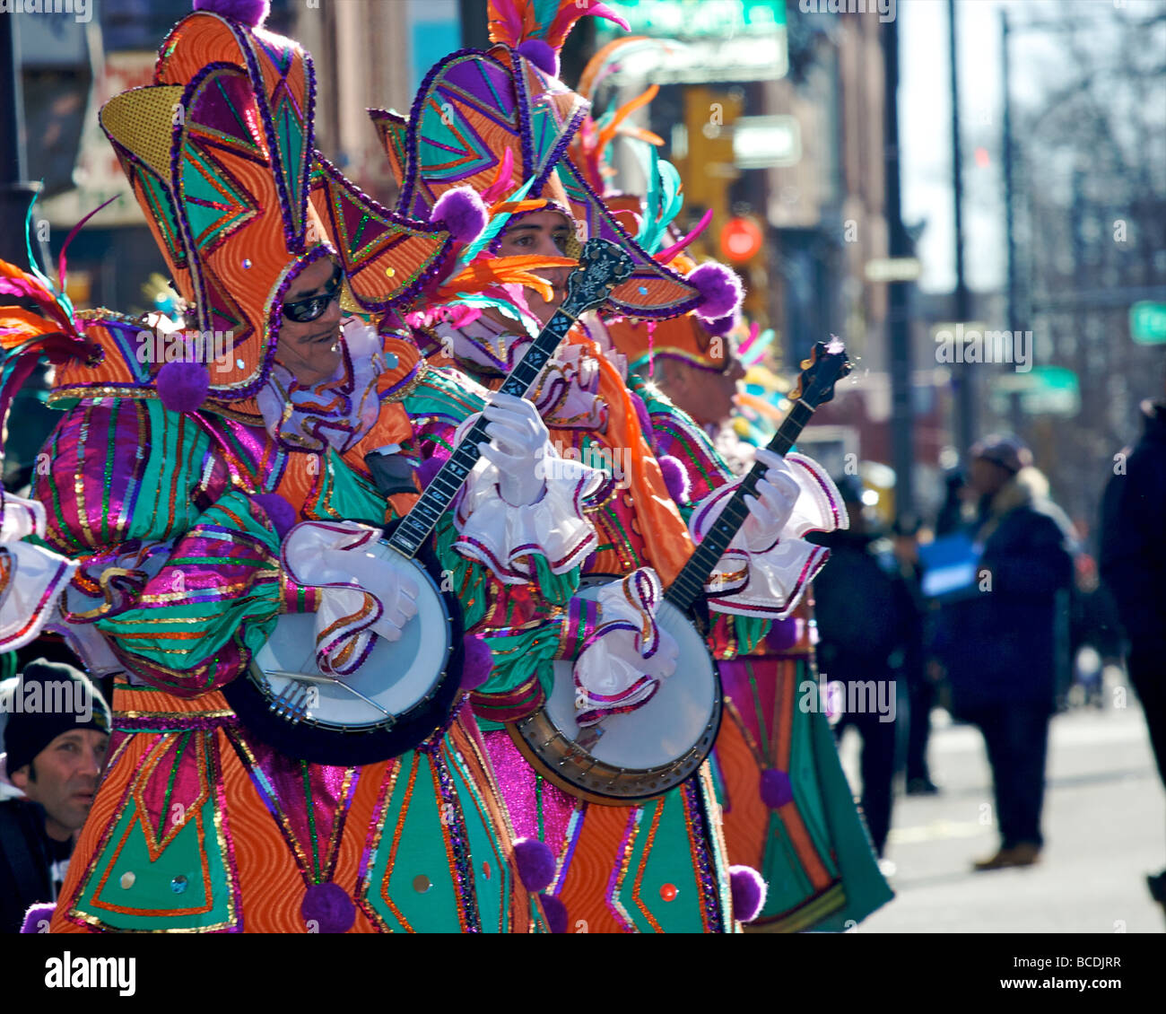 Musicians in the Philadelphia Mummers New Year's parade - Stock Image