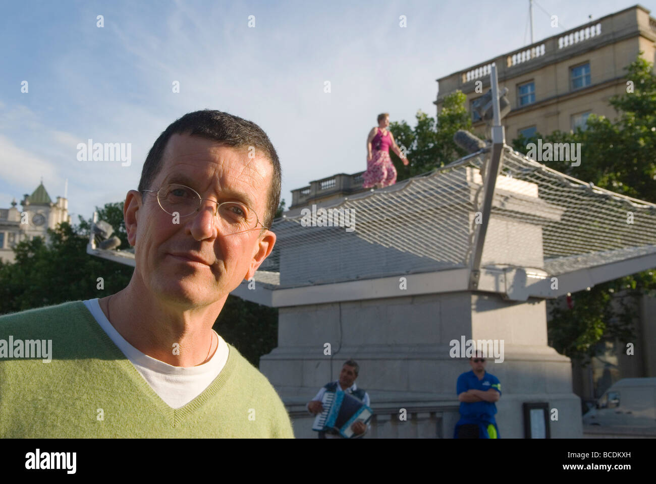 Antony Gormley Gormleys fourth 4th plinth Living Sculpture exhibition London Uk 2009 - Stock Image