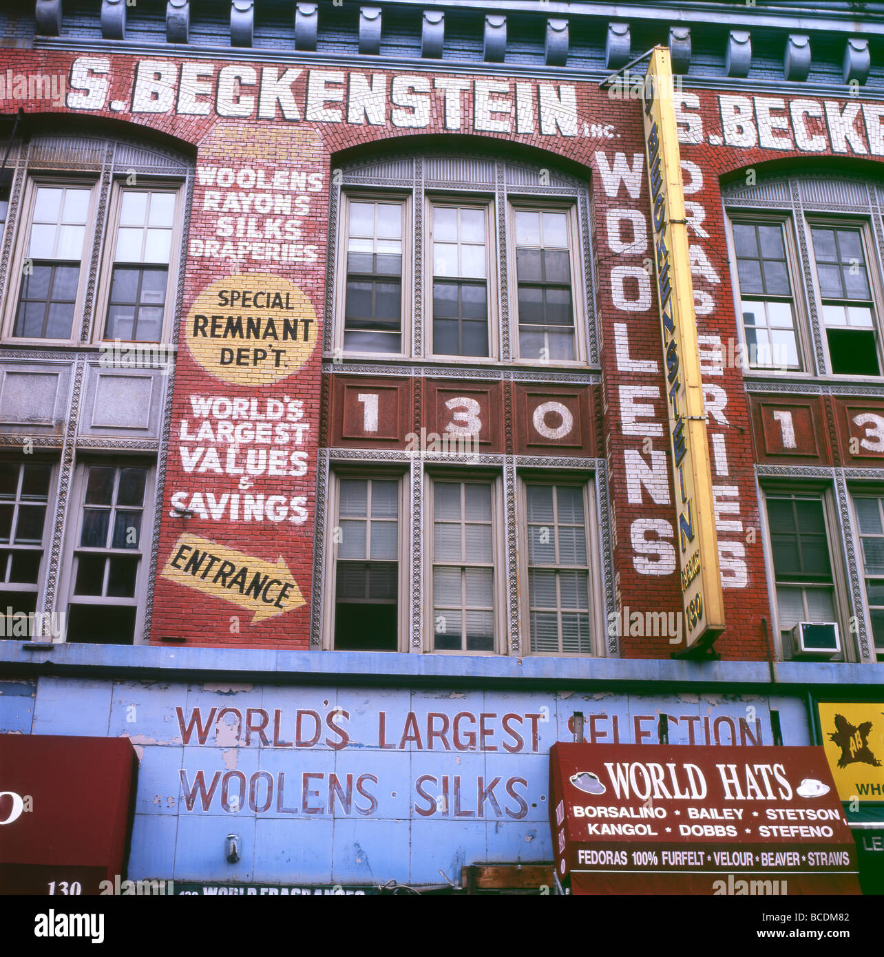 S. Beckenstein warehouse building on Orchard St. Lower East Side, New York city a property now converted into lofts - Stock Image