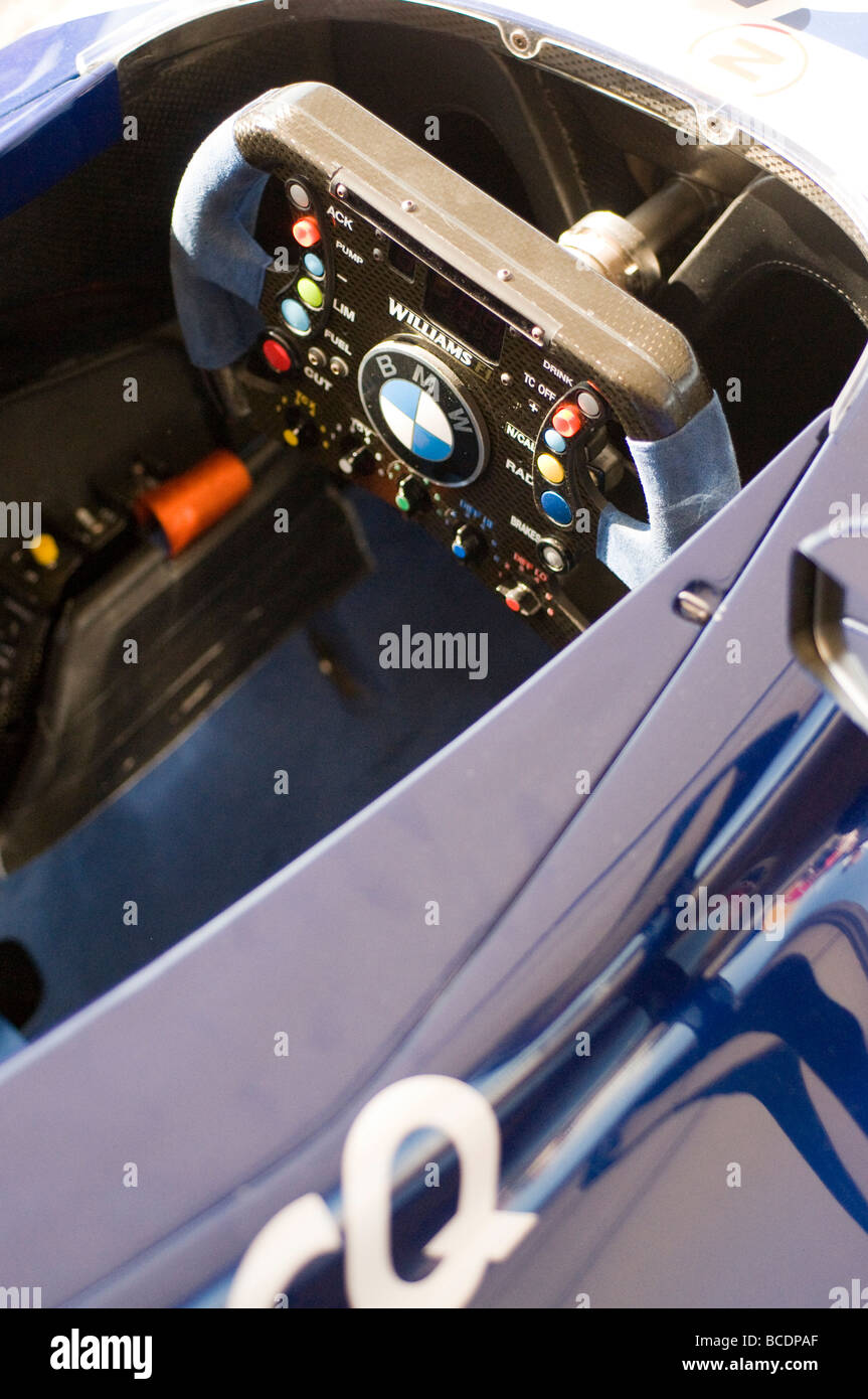 formula one car cockpit and steering wheel - Stock Image