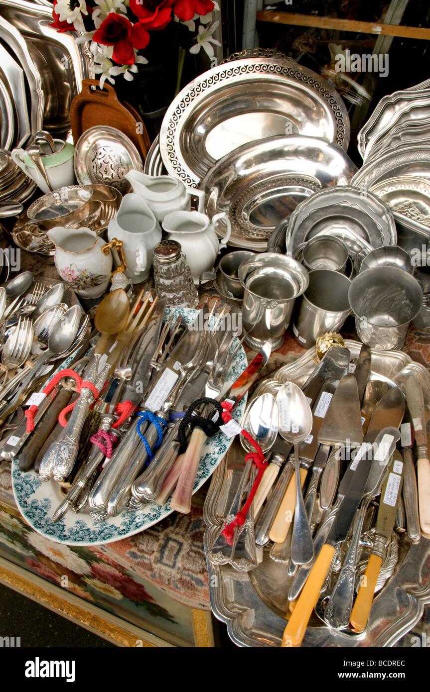 marche aux puces de saint ouen flea market paris silver stock photo 24890052 alamy. Black Bedroom Furniture Sets. Home Design Ideas