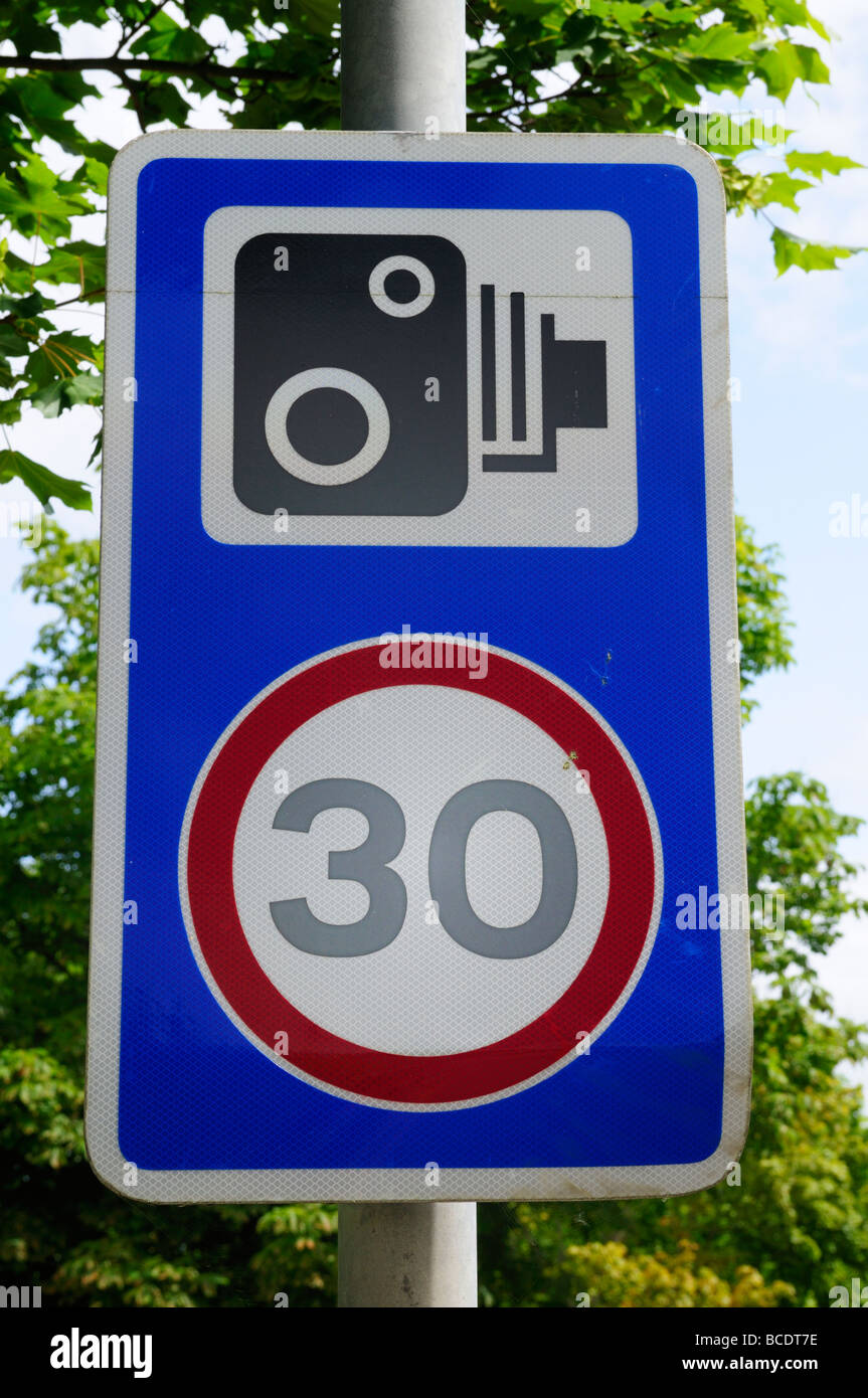 Warning sign for speed cameras in a 30mph limit zone, Cambridge England UK - Stock Image