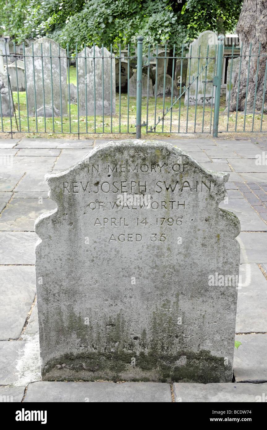 Gravestone Bunhill Fields Burial Ground London England UK - Stock Image