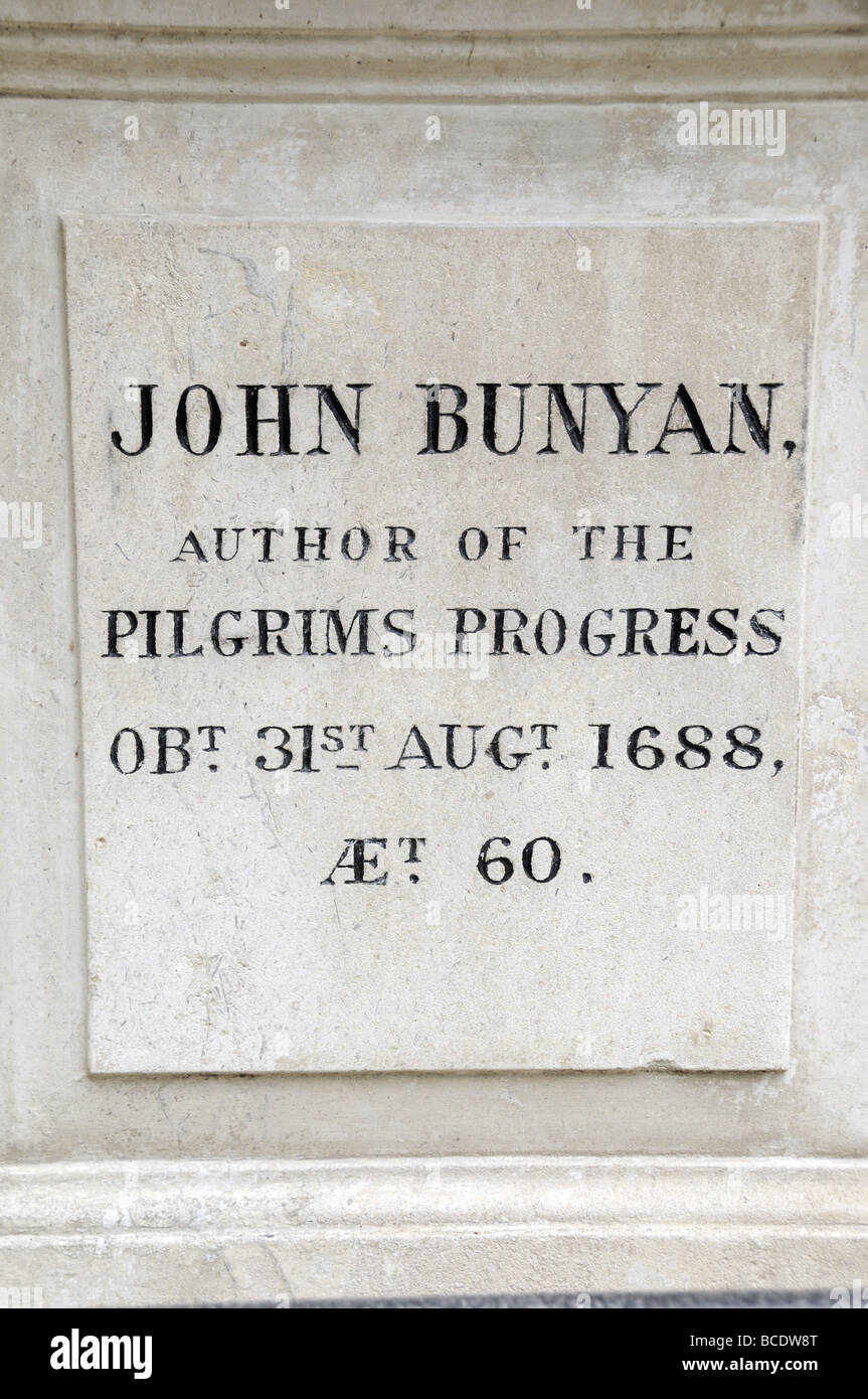 John Bunyan inscription on gravestone Bunhill Fields burial ground Islington London England UK - Stock Image