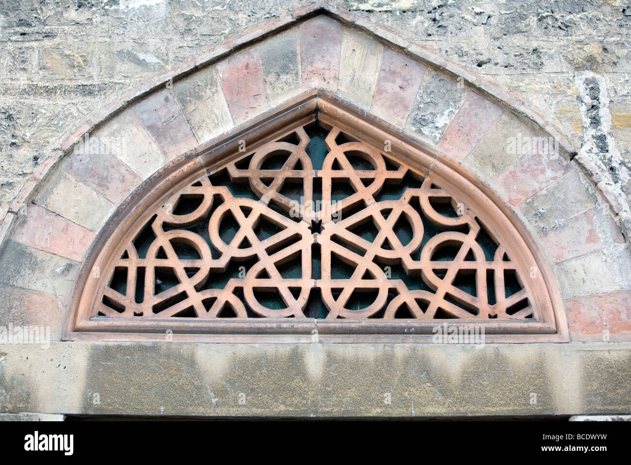 An Islamic design above a window of the Mosque of Pasha Gazi Kassim (the Mosque Church) in Sz chenyi square in Pec - Stock Image