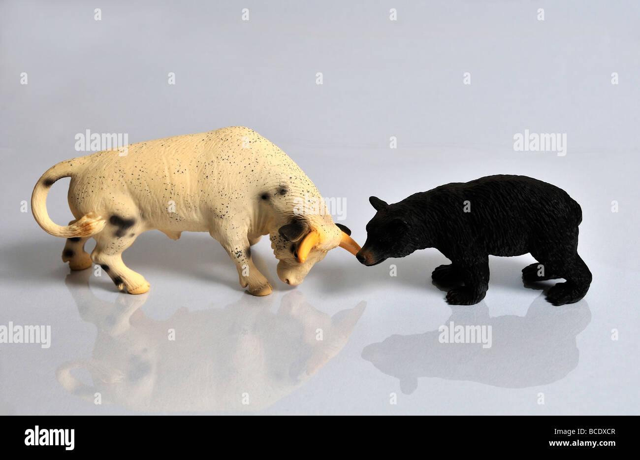 Bear and bull - Stock Image