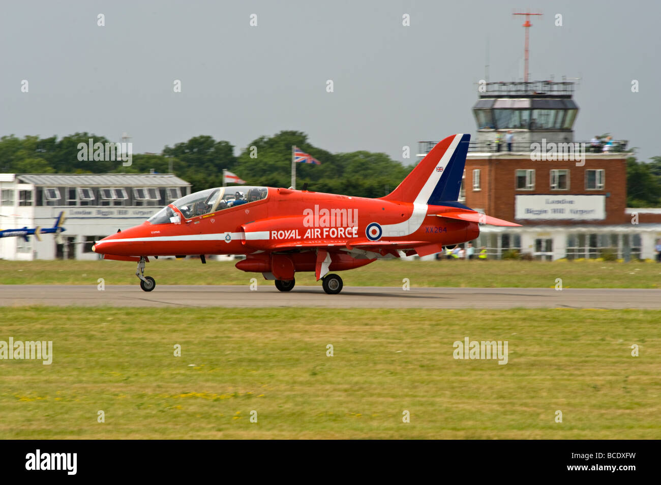 A BAE Hawk aircraft, part of 'The Red Arrows' display team, at Biggin Hill, Kent, England. - Stock Image