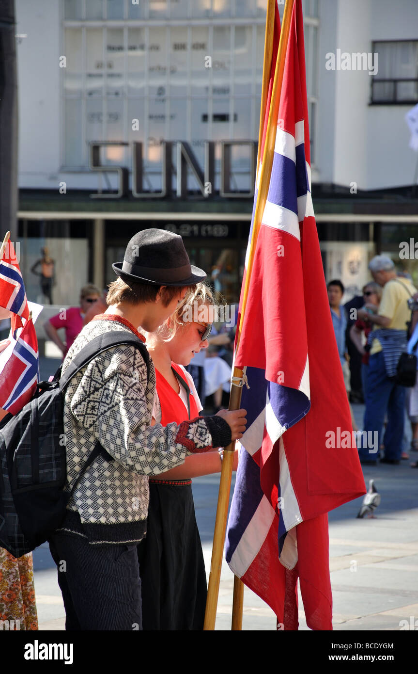 Parade of young people in National dress, Torgalmenningen Square, Bergen, Hordaland, Norway Stock Photo
