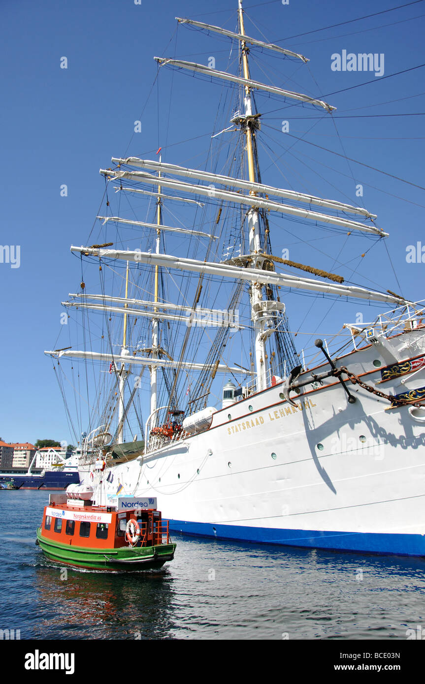 The Barque 'Statsraad Lehmkuhl' 3-masted sailing ship, Byggen, Bergen, Hordaland, Norway - Stock Image