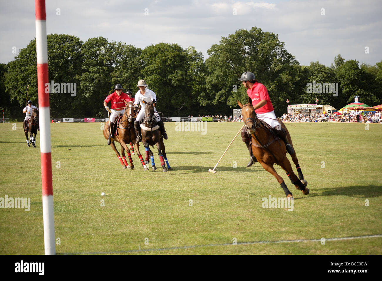 Polo match,shot at goal outdoors summer pursuit,England vs Argentina - Stock Image