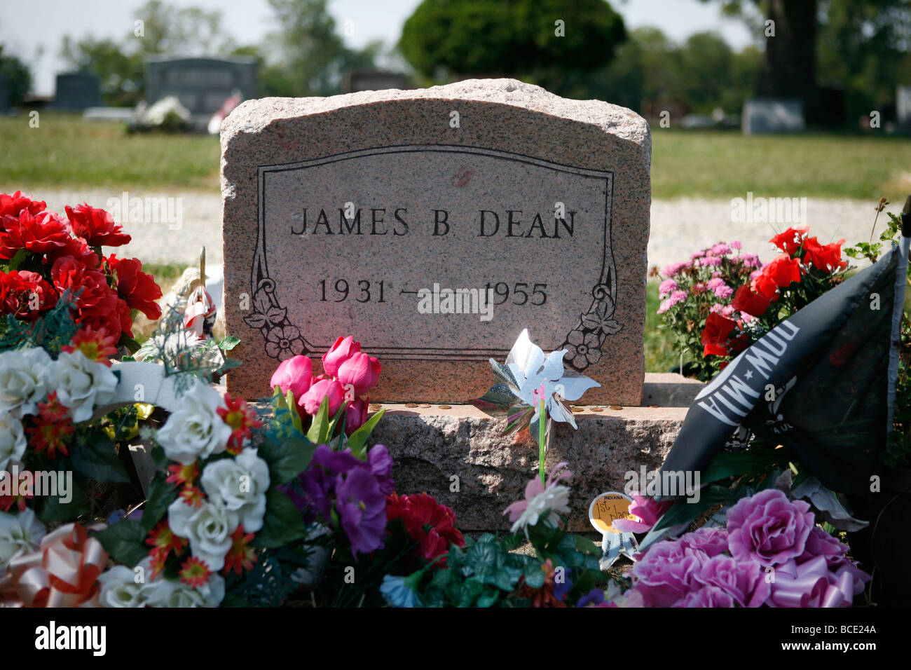 James Dean grave at the Park Cemetery Fairmont Indiana Stock Photo