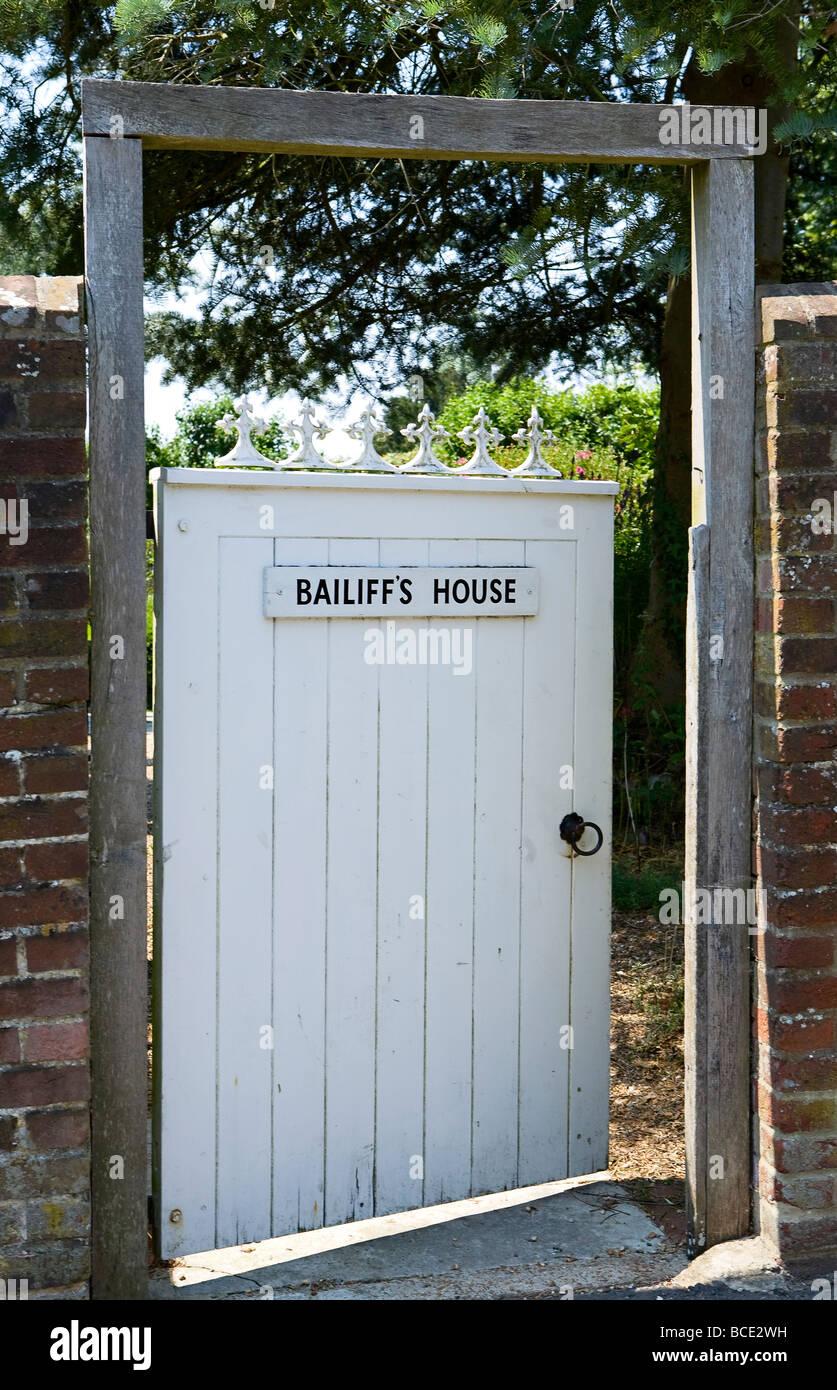 Bailiffs House sign on gate UK - Stock Image