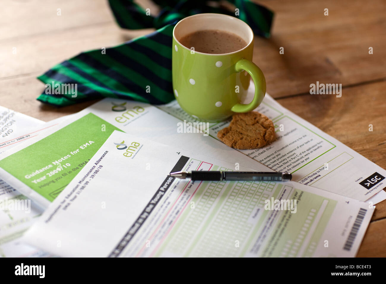 Filling in an Education Maintenance Allowance form, UK - Stock Image