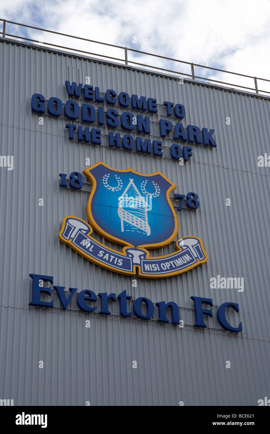 welcome sign and club crest at goodison park football stadium home of everton fc liverpool merseyside england uk Stock Photo