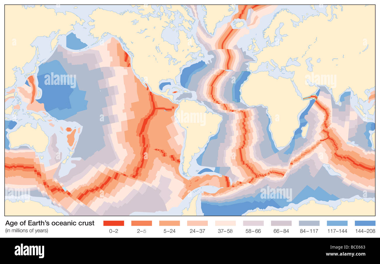 The age of Earth's oceanic crust, as measured in millions of years. - Stock Image