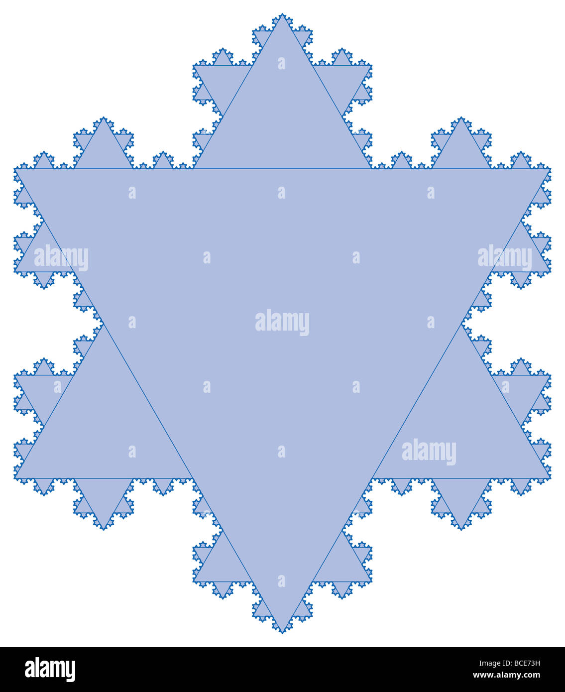The Koch snowflake is continuous but nowhere differentiable; that is, at no point on the curve does there exist - Stock Image