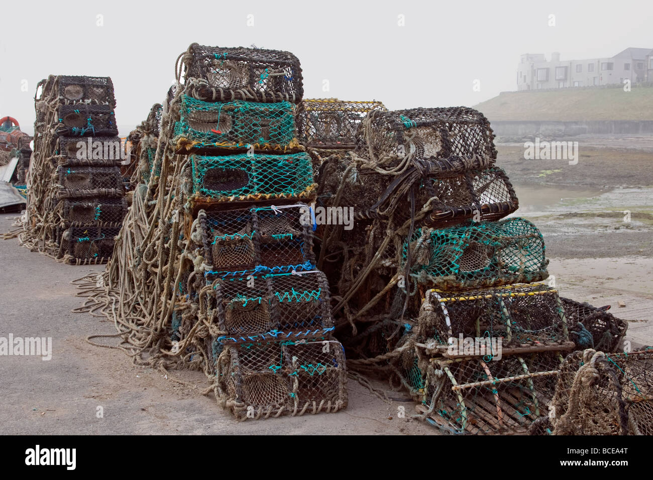 Crab Pots Stacked on Quay at Seahouse - Stock Image
