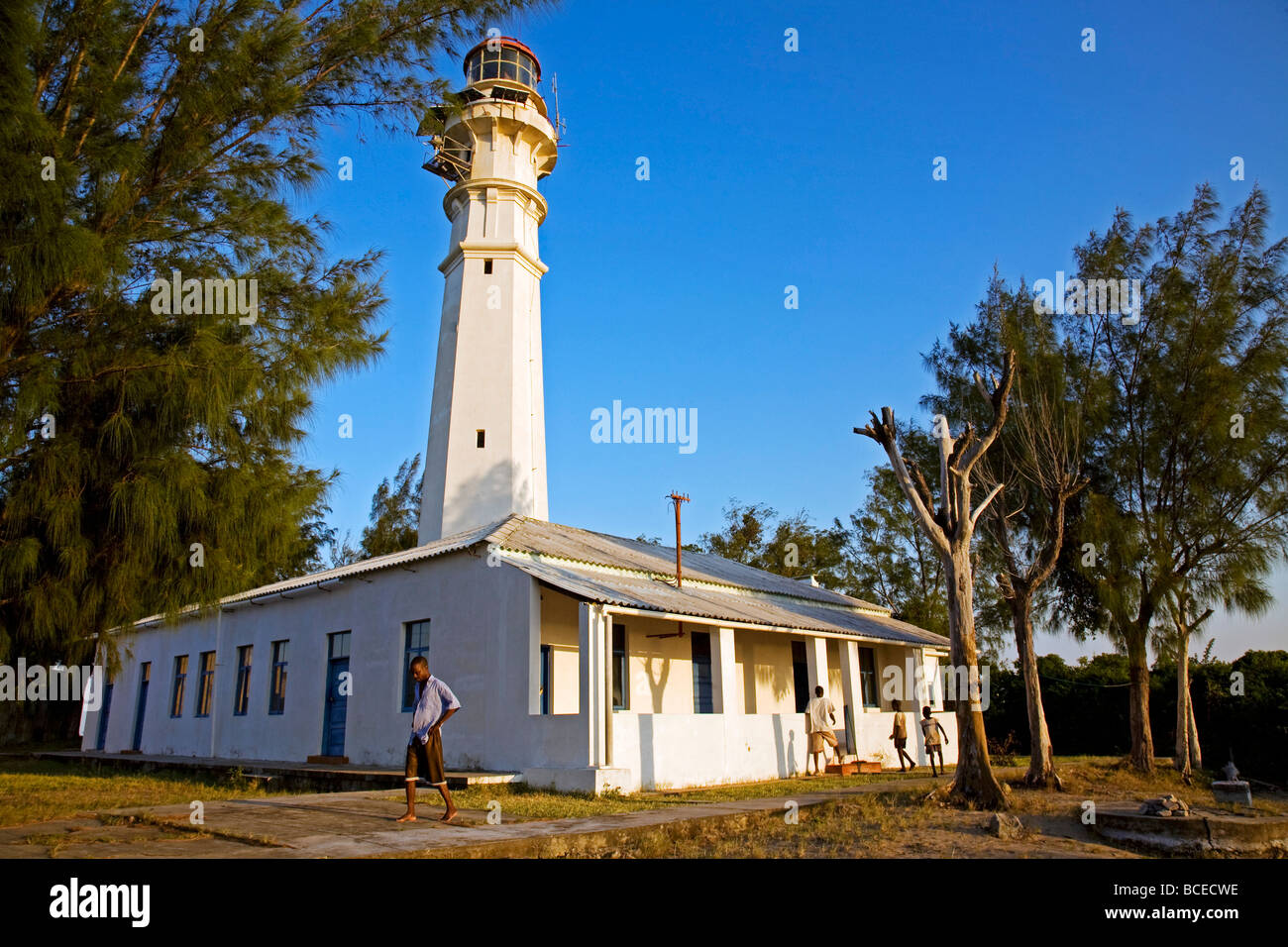 Mozambique, Inhaca Island. The Northern Lighthouse at sunset on Inhaca Island. Stock Photo