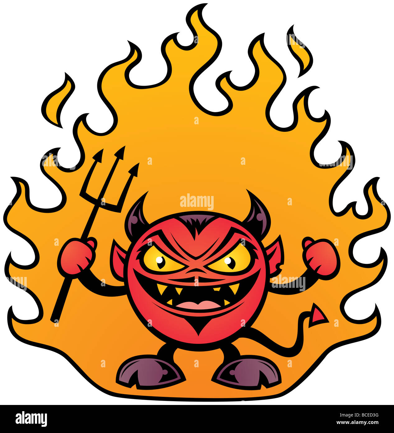 Vector illustration of a fat little devil character. - Stock Image