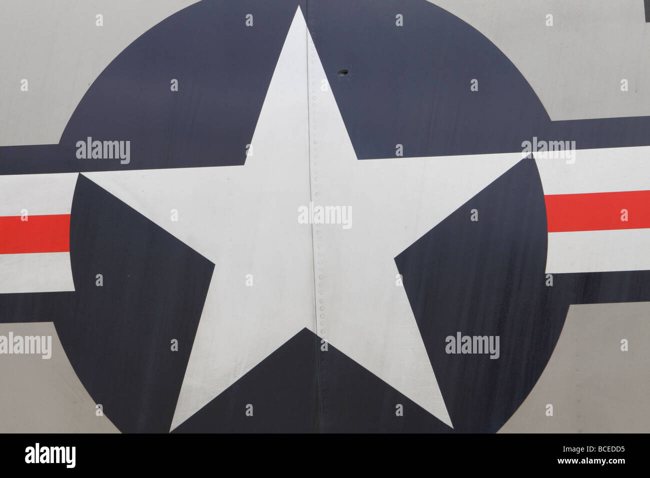 US USAF US Navy American military roundel symbol icon star and bar - Stock Image