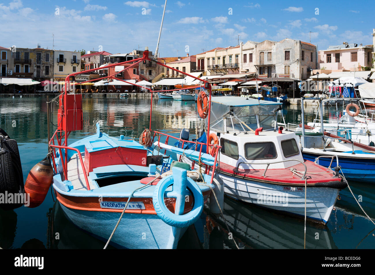 Fishing Boats in the Old Venetian Harbour, Rethymnon, Crete, Greece - Stock Image