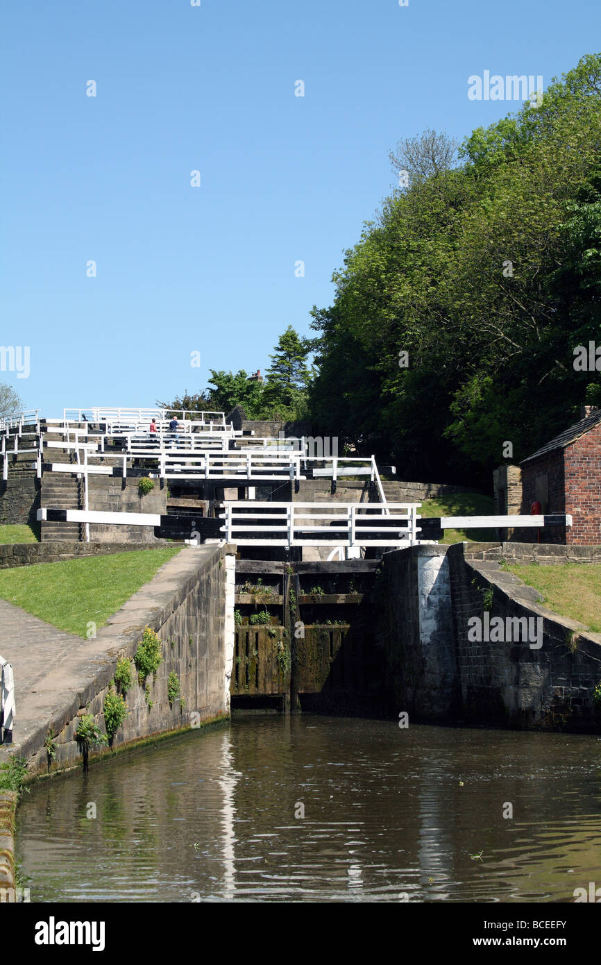 Bingley Five Rise Locks a staircase lock rising 60 ft on the Leeds Liverpool Canal - Stock Image